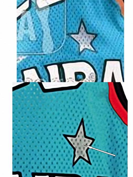 e7158d623 ... michael jordan blue throwback classic basketball jersey f88  last but  not least another image showing the mesh hole pattern on the silk screened  star
